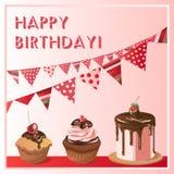Vector карточка с пирожным, булочкой и тортом Стоковые Изображения RF