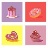 Vector карточка с пирожным, булочкой и тортом и donuts Стоковые Изображения