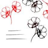 Vector карточка с черными и красными нарисованными вручную цветками Стоковое Изображение RF