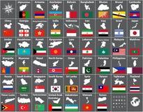 Vector карты и флаги всех азиатских стран аранжированных в алфавитном порядке Стоковые Фотографии RF