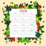 Vector календарь 2018 свежих ягод и плодоовощей Стоковое Изображение