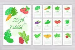 Vector календарь стены с страницами на каждый месяц с различными овощами иллюстрация вектора