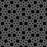 Vector квадрат картины геометрии битника абстрактный, черно-белая безшовная геометрическая предпосылка, тонкая подушка и плохая п Стоковое Изображение RF