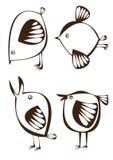Vector комплект 4 графических птиц шаржа на белизне Стоковые Фото