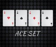 Vector комплект играя карточки казино 4 тузов Стоковое Изображение