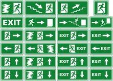 Vector комплект символа - знак аварийного выхода - плита пожарной сигнализации - персона избегая пламена через дверь иллюстрация штока