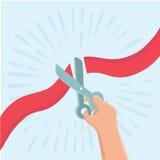 Vector концепция в плоском ретро стиле - вручите держать ножницы и резать красную ленту Стоковые Фото