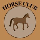 Vector коричневый ярлык для клуба лошади или клуба катания с одной лошадью Стоковые Изображения