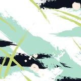 Vector краска хода щетки в зеленых цветах военно-морского флота Абстрактный творческий акриловый свежий выплеск хода Предпосылка  Стоковое Изображение