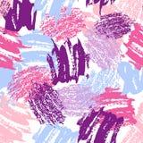Vector красочная безшовная картина с ходами и точками щетки Розовый голубой фиолетовый цвет на белой предпосылке Покрашенная рука бесплатная иллюстрация