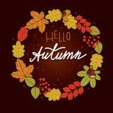 Vector красочная иллюстрация венка от листьев с здравствуйте! надписью осени Стоковые Изображения RF