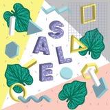 Vector красочный графический дизайн рогулек, стикеров и знамен рекламы с тропическими листьями и простыми геометрическими формами Стоковое Изображение RF