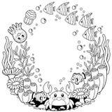 Vector крася printable страница для ребенка и взрослого Милая тварь моря на морской предпосылке жизнь подводная иллюстрация штока