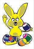 Vector кролик пасхи шаржа при яичка изолированные на белизне Стоковое Изображение RF