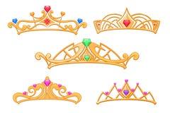 Vector кроны принцессы, тиары с комплектом шаржа самоцветов Стоковая Фотография RF