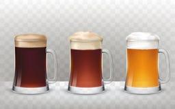 Vector кружки пива иллюстрации 3 стеклянные с различным пивом на прозрачной предпосылке бесплатная иллюстрация