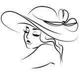 Vector линия портрет иллюстрации девушки в шляпе Стоковые Фото