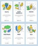 Vector линия сеть искусства и передвижной комплект шаблона app иллюстрация штока