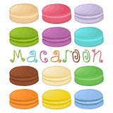Vector логотип иллюстрации значка для macaroons кучи красочных Стоковая Фотография RF