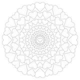 Vector мандала круговой картины любящая с сердцами черно-белыми Стоковые Изображения