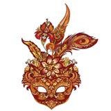Vector маска масленицы золотая для театра и фестивалей стоковое изображение
