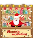 Vector мастерская Санты знамени с Санта Клаусом и подарками, игрушками, куклами, присутствующей коробкой и гирляндами лампы с фла бесплатная иллюстрация