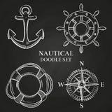 Vector маховичок, анкер, компас и lifebuoy иллюстрация штока