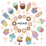 Vector меню иллюстрации для ресторана или кафе с помадками Стоковая Фотография RF