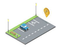 Vector место для парковки с стендом и trashcan, паркуя geotag штыря Стоковое Изображение RF