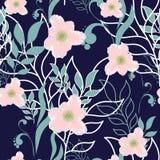 Vector милая безшовная картина весны листьев и цветков Большой комплект элементов мяты флористических и розовых цветков Стоковые Изображения RF