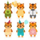 Vector милый счастливый тигр, девушки и мальчики одетый в различных одеждах Печать Scrapbooking Поздравите карточку бесплатная иллюстрация