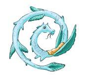 Vector милый изверг или дракон или snake, ящерица и мистический символ Стоковое Изображение