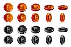 Vector монетки вращения анимации красные и черные 3D Bitcoin Цифров или виртуальные наличные деньги валюты и электронных Иллюстрация вектора