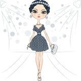 Vector модель верхней части девушки моды на подиуме Стоковое Изображение