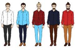 Vector молодой человек с бородой в рубашке и джинсах Бесплатная Иллюстрация