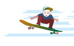 Vector младенец мальчика иллюстрации в бейсбольной кепке к скейтборду Стоковое Изображение RF