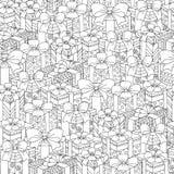 Vector нарисованная рукой иллюстрация подарочных коробок для взрослой книжка-раскраски Freehand эскиз для взрослой анти- книжка-р Стоковые Фотографии RF