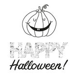 Vector нарисованная рукой открытка хеллоуина с тыквой Стоковая Фотография
