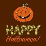 Vector нарисованная рукой открытка хеллоуина с тыквой Стоковые Изображения