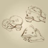 Vector нарисованные рукой блинчики кухни эскиза еды русские национальные традиционные стоковое фото rf