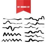 Vector нарисованные рукой линии сухой щетки grunge нечестные Стоковое Изображение RF