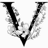 Vector нарисованные рукой флористические вензель и логотип uppercase v Стоковое Изображение RF