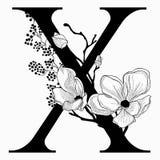 Vector нарисованные рукой флористические вензель и логотип uppercase x Стоковые Изображения