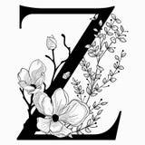Vector нарисованные рукой флористические вензель и логотип uppercase z Стоковые Изображения RF