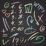 Vector нарисованный рукой комплект диаграмм и элементов примечания на доске Абстрактная иллюстрация мела вектора Стрелки, тикания Стоковое Изображение