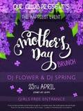 Vector нарисованный рукой плакат события дня матерей с текстом литерности руки - будьте матерью дня ` s и цветков сирени и doodle иллюстрация штока