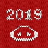 Vector 2019 номеров с носом ` s свиньи, шаблоном Нового Года для страницы календаря или плакатом оформления поздравительной откры иллюстрация штока