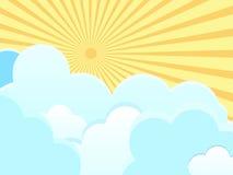 Vector облака на голубой предпосылке с лучами солнца Стоковые Изображения