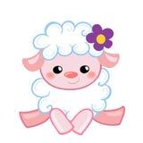 Vector овечка иллюстрации милая в шарже стиля Стоковая Фотография RF