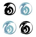 Vector логотип в форме абстрактной птицы, стилизованное silhouett Стоковые Изображения